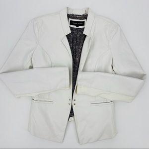 Black Rivet Faux Leather White Jacket Size M